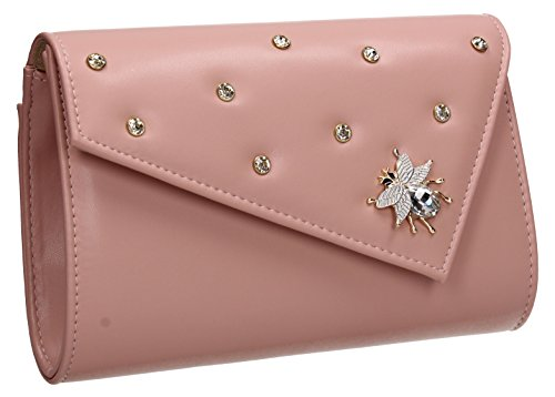 Wedding Prom Nylah Stud Butterfly Pink Bag Out Night Evening Celebrity SWANKYSWANS Purse Ladies Party Clutch dwXUq5qI