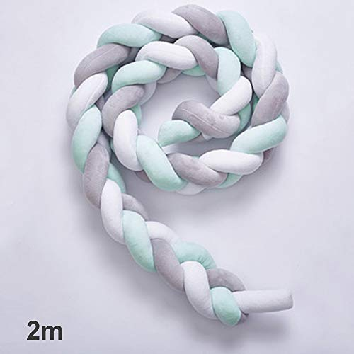 - Braided Velvet Bumper,Baby Cushion Snake Cushion Braided Bumper Velvet Crib Bumper Braided Baby Bed Bumper Knotted Braided for Newborns Toddlers(2m,White+Gray+Green)