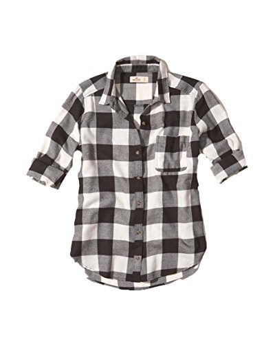 hollister-womens-button-down-shirt-m-black-check-easy-fit