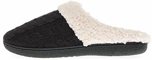 Floopi Womens Indoor Outdoor Knitted Sherpa Lined Clog Slipper W/Memory Foam Black-302 M1BQOWwBIo