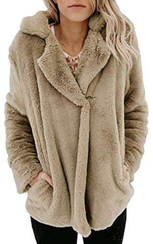 Angashion Women's Long Sleeve Lapel Faux Fur Button Oversized Warm Winter Jacket Coat Outwear with Pockets Beige XL (Button Front Fur Jacket)