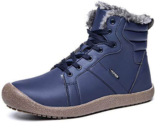 JIASUQI Warm Winter Boots Waterproof Snow Fur Lined Chukka Women Navy 11 M US