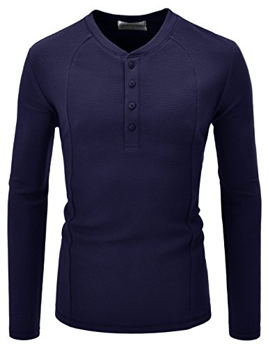 NEARKIN (NKNKTE7001) Slim Cut Look Stretchy Waffle Airy Pattern Henley Tshirts NAVY US L(Tag size L)