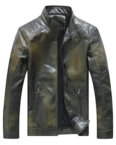 (Fairylinks Military Green Leather Jacket Mens Coat)