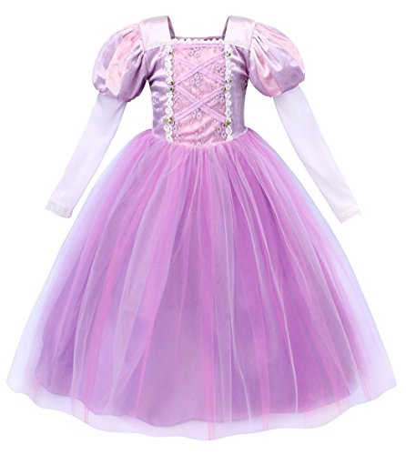 HenzWorld Dresses for Girls Rapunzel Dress Mesh Sleeve Costumes Princess Party Birthday Cosplay Size 5-6 Years -