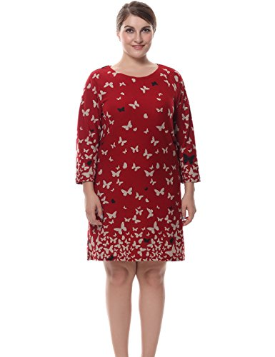 Chicwe Women's Plus Size Cashmere Touch Butterfly Printed Dress - Knee Length Casual and Work Dress Coral 18 by Chicwe