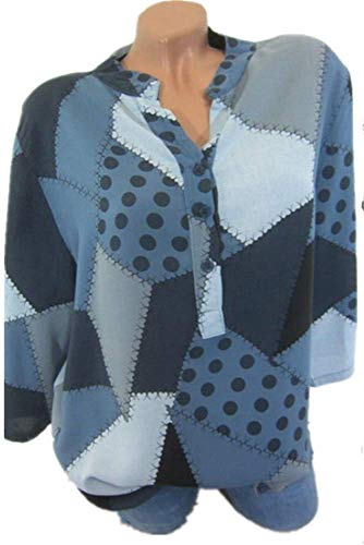 Chemisier Femme Boutonn Longues Casual Epissures Bleu Tops Shirt Mode Irrgulier Col YOGLY Chic Blouse Elgante Couleur Manches TdYCT5wq
