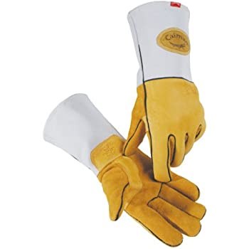 Caiman 1858-4 Medium Wool Lined Heavy Genuine American Elk Skin Metal Inert Gas and Stick Welding Glove, Gold and Gray