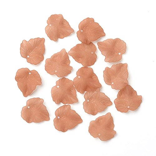 Pandahall 100pcs Transparent Frosted Acrylic Leaf Pendants Plastic Beads Chocolate Color 24x22.5mm for DIY Jewelry Making