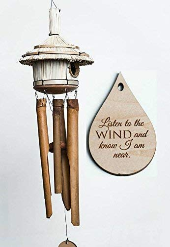 Bird House Memorial Wind Chime in memory Garden or Porch Heaven day remembering stillborn baby miscarriage death of mother or father Bamboo Woodstock Chime