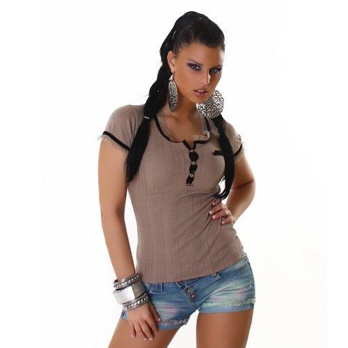 zwoelf Blouse Shirts nummer Top Shirt T Mesdames Shirt courtes Marron Manches gUzqP