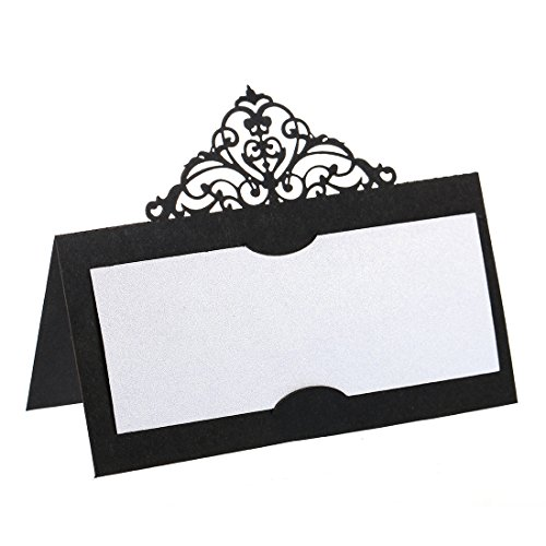 YUFENG Laser Cut Place Cards Table Name Cards For Wedding Birthday Party (60pcs black) ()