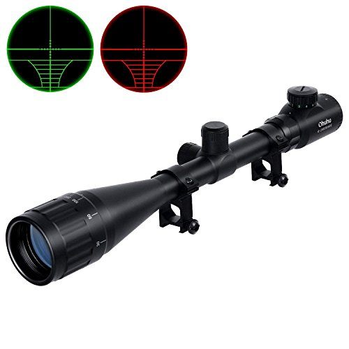Ohuhu Hunting Rifle Scope, 6-24x50 AOE Red and Green Tactica