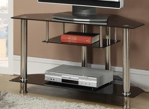 """3 Tiered Black Metal Glass TV Media Console Stand Up To 39"""""""