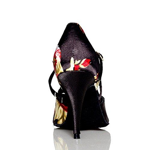 Llevan Mujeres Latino Adultos Hebilla Zapatos Baile De 7cm Negro faYnnUq