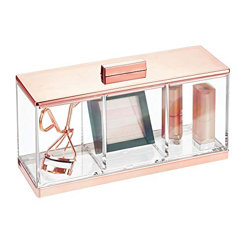 mDesign Plastic Makeup Organizer Storage Canister Box with 3 Sections and Lid for Bathroom Vanity Countertops – Holder for Cotton Balls, Swabs, Rounds, Lipstick – Clear/Rose Gold