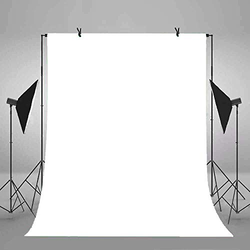 Muslin Background Solid White Color - White Backdrop for Chromakey, Solid Color, Porfessional Photography Backgrounds, Machine Washable, YouTube Photo Video Studio Props 6x9ft/1.8x2.7m FSS001