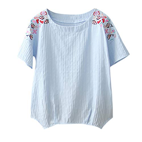 - Women Solid Color Loose O-Neck Short Sleeve T Shirt Tops Art Embroidery Crew Neck Blue