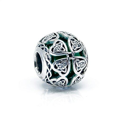 Silver Sterling Charm Leaf Glass (Dark Green Murano Glass & Sterling Silver Irish Celtic Lucky Shamrock Charm S925, Irish Celtic Eternal Love Knot Silver Charm Bead, Irish 4 leaf Clover pendant Charm Jewelry, Pandora compatible charm)