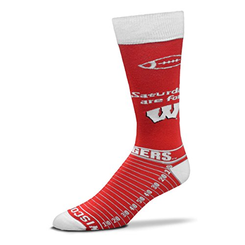 (For Bare Feet NCAA Saturday Gameday Socks-Wisconsin Badgers-Large)