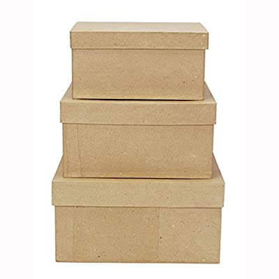 Darice 2849-06 Paper Mache Boxes for Craftwork, 8, 9 and 10-Inch, Set of 3 from Darice