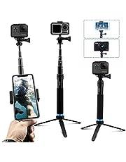 AuyKoo wasserdichte Selfie Stick Stativ Verlängerung Aluminiumlegierung Handgriff Teleskop Handheld Selfie-Stangen für DJI OSMO Action Pocket GoPro Hero7 8 Black Hero 6/5/4 Session Max SJCAM Akaso