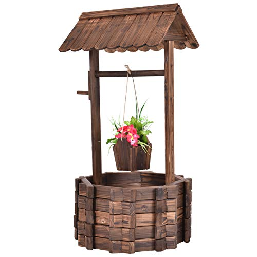 (Giantex Outdoor Wooden Wishing Well Bucket Flower Plants Planter Patio Garden Home)