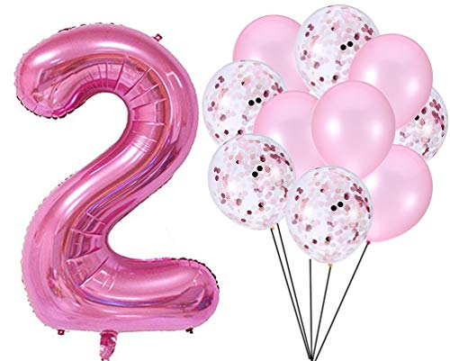 PartyMart Pink Number 2 Balloon Confetti Balloons -