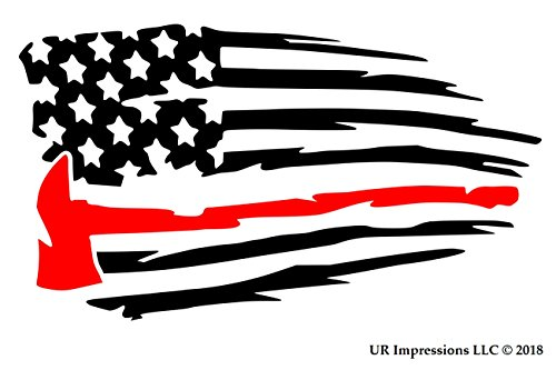 - UR Impressions Blk Thin Red Line Fireman's Axe - Tattered American Flag Decal Vinyl Sticker Graphics Car Truck SUV Van Wall Window Laptop|Black & RED|7.5 X 4.3 Inch|URI660