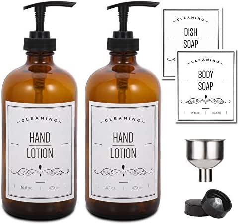 16oz Glass Soap Dispenser with Pump for Kitchen Sink and Bathroom - Amber Soap Pump Bottle with Funnel and 4 White Waterproof Labels for Hand Soap, Lotion, Dish Soap, Body Soap, Mixing Essential Oils