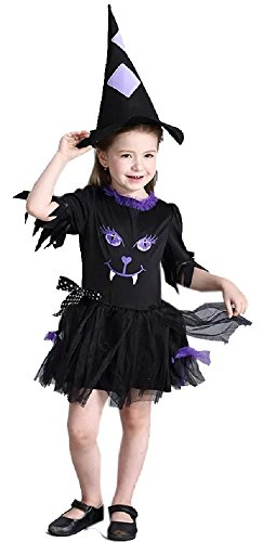Sunnysame Girls Witch Costume Cosplay Dress Hat Set Outfits-130 (Cute Scary Halloween Costumes)