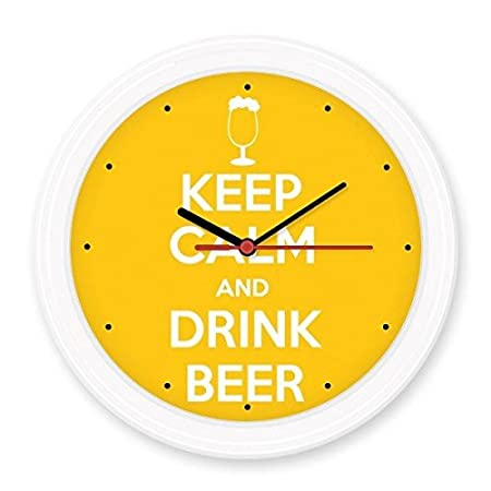 Quote Keep Calm And Drink Beer White Yellow Cup Funny Illustration Pattern Silent  Non Ticking