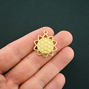 Amazon.com: Jewelry Making 2 Flower of Life Sun Charms