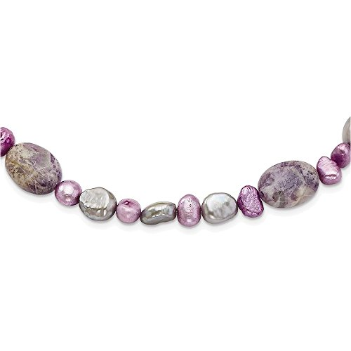 Sterling Silver Charoite, Jade & FW Cultured Pearl Necklace ()