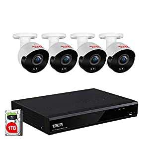 [2021 New] Tonton Home Security Camera System Outdoor,8-Channel Full HD 5-in-1 1080P DVR Recorder with 1TB HDD,4PCS 2MP…