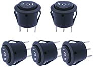 mxuteuk 5pcs Snap-in Round Boat Rocker Switch Toggle Power ON-OFF-ON ,ON-OFF,(ON)-OFF-(ON)(can choose)AC 250V