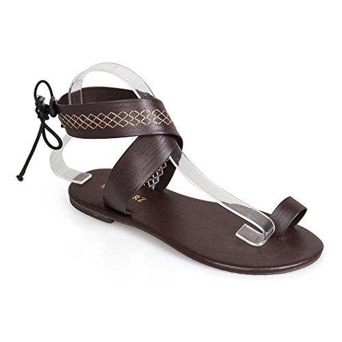 Sandales Plage Sandales Peep 36 Toe Boho Mode Respirant Sandales Marron Chaussures Gladiator Confort Tongs Plus Roma Juleya Casual Chaussures Été 43 Antidérapant Élégant Femme Plates Taille gwX1xpHIq
