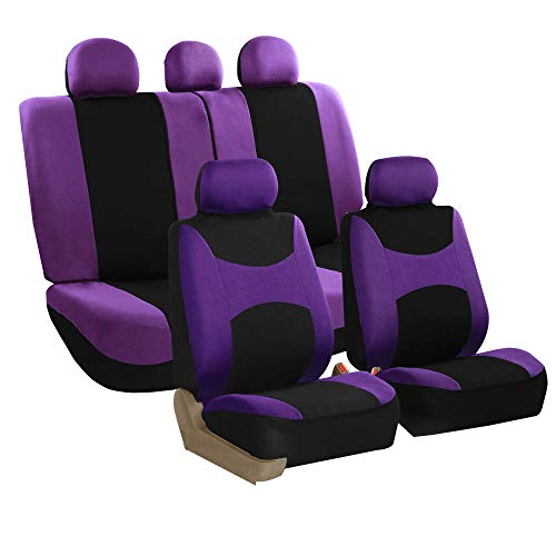 FH Group FH-FB030115-SEAT Light & Breezy Purple/Black Cloth Seat Cover Set Airbag & Split Ready- Fit Most Car, Truck, SUV, or Van (Interior Cover Light Nissan Titan)