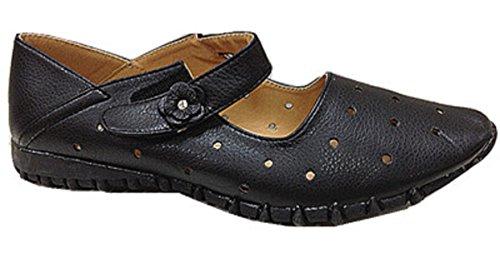 Femmes chaussures babies ballerine mocassines cuir simili 2009-2 NOIR