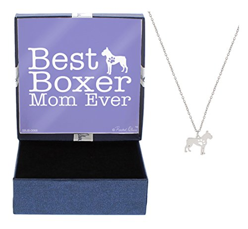 Best Boxer Mom Ever Dog Breed Silhouette Dog Paw Heart Necklace Jewelry Boxer Necklace Gift Boxer Owner Idea A Rescue Dog (New Boxer Puppy)