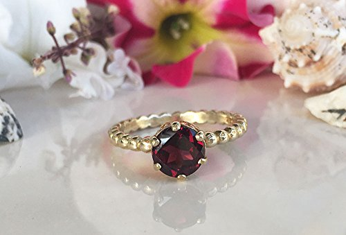 Mozambique Garnet Ring - Genuine Gemstone - January Birthstone - Stack Ring - Round Ring - Gold Ring - Prong Ring - Red Ring ()