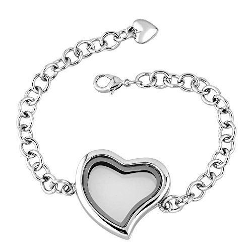 Tiffany Star Bracelet (Heart Love Living Floating Charm Memory Locket Chain Star or Heart Glass Magnetic Bracelet (heart)