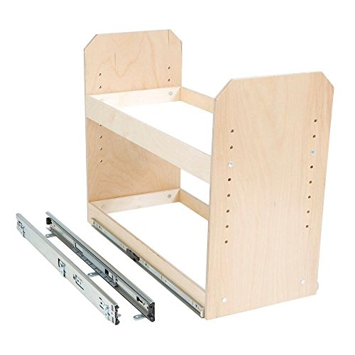 Made-To-Fit 6 in. to 24 in. wide 2 Tier Adjustable Tower Cabinet Organizer, Full Extension, Poly-Finished Birch wood - Birch Wide Cabinet