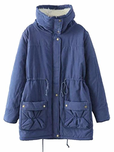 Parkas Fleece 3 Drawstring Casual Waist Womens Coats TTYLLMAO Jackets wUXZq7Ex