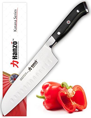 "HANZO Santoku Knife 7"" inch (180mm )- VG10 67 layered Japanese Steel - Superior Edge Retention - Contoured Military Grade G10 Handle"
