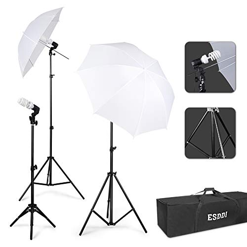 ESDDI Photography Lighting - Umbrella Lights Kit 600W 5500K Portable Continuous Day Light Photo Portrait Studio Video Equipment (Studio Continuous Lighting Kit)