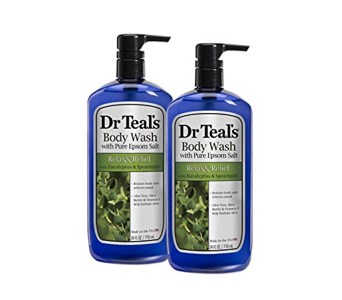 Foaming Body Wash - Dr Teal's Body Wash, Relax & Relief with Eucalyptus & Spearmint 24 fl oz (Pack of 2)