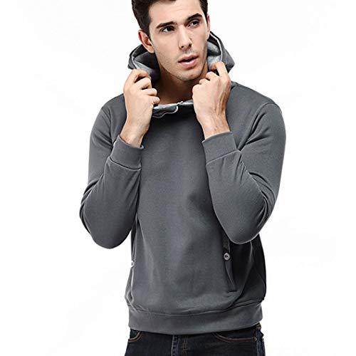 AKIMPE Men's Long Sleeve Patchwork Hoodie Hooded Sweatshirt