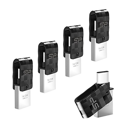 Silicon Power 16GB C31 Dual Flash Drive for Type-C Smartphones and Tablets, 5-Pack