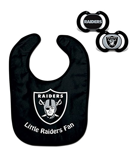 Official NFL Fan Shop Authentic Baby Pacifier and Bib Bundle Set. Start Out Early in Joining The Fan Club and Show Support for Your Favorite Football Team (Oakland Raiders)